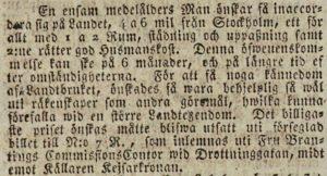 Post- och Inrikes Tidningar den 9 juli 1819.
