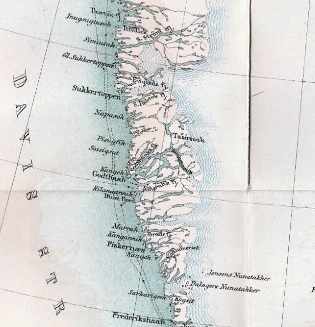 Grönlands västkust på 1880-talet. Karta av C. J. O. Kjellström. Källa: Den andra Dicksonska Expeditionen till Grönland, A. E. Nordenskiöld, F. & G. Beijers förlag, Stockholm, 1885.