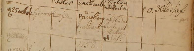 Inga Christina skrivs felaktigt in med sin yngre syster Cajsas namn i vigselnoteringen när hon gifter sig med Wolmar Lorentz 1757. Källa: ArkivDigital: Trässberg C:2 (1740-1817) bild 337 / sidan 659.