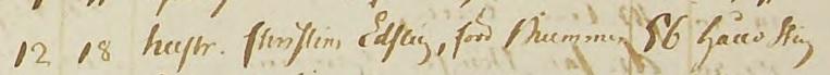Christina Brummers dödsnotering 1818. Källa: ArkivDigital: Brålanda C:3 (1803-1842) bild 128 / sidan 247.