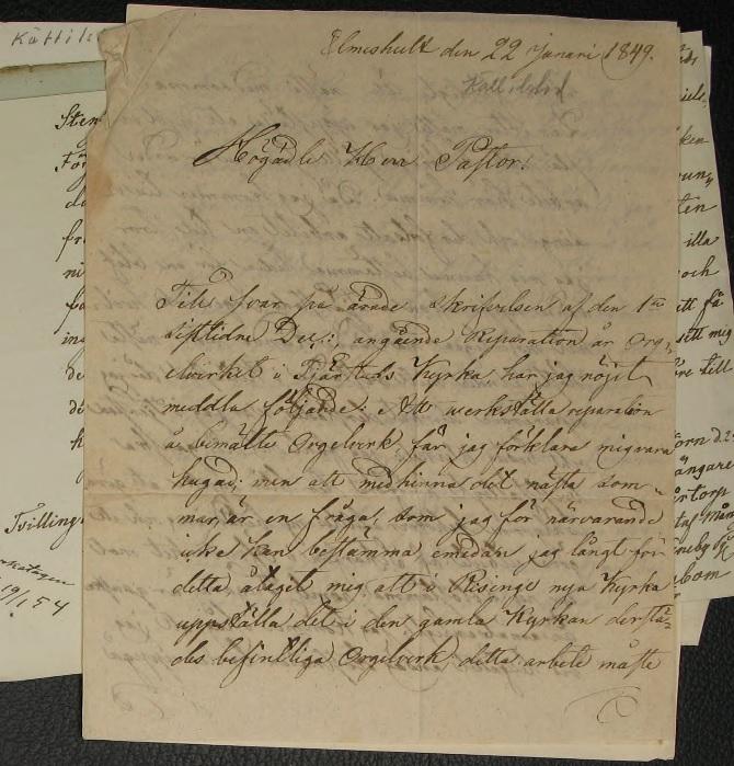 Brevet från Sven Nordström den 22 januari 1849. Källa: Kättilstad DI:1 (1778-1847) bild 49.
