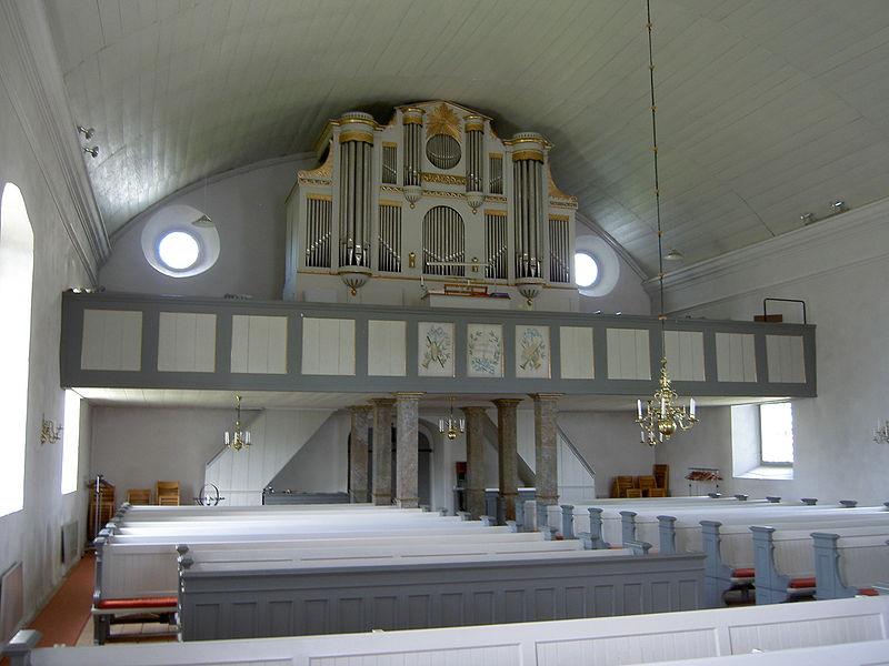 Orgeln i Tjärstads kyrka. Foto: Ulf Klingström.