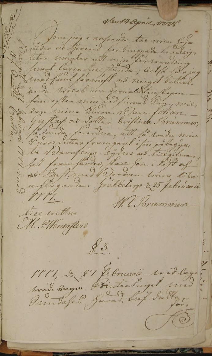 Wolmar Lorentz Brummers testamente 1777. Källa: ArkivDigital: Göta Hovrätt - Adelns bouppteckningar EXIA:20 (1650-1820) bild 485.