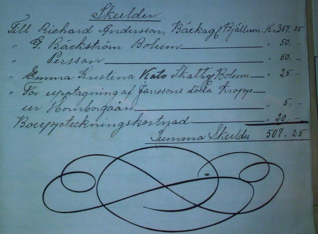 Klas Levin Janssons bouppteckning, 25 maj 1912. Källa: ArkivDigital: Skånings och Valle häradsrätt FII:4 (1911-1912) Bild 4580 / sida 23.