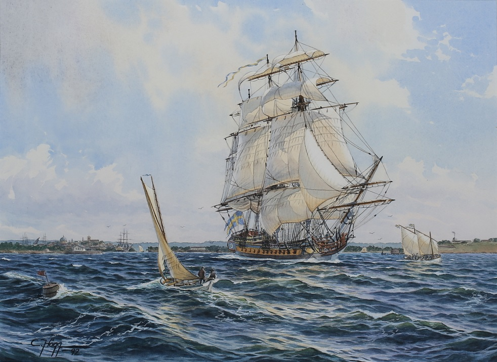 """""""Fregatten Camilla"""", målad av Christer Hägg 1992. Publicerad med tillstånd av konstnären, som berättar att tavlan är en akvarell och var en beställning från Marinbasen i Karlskrona att ges som present till Landshövdingen Camilla Odnoff i Karlskrona då hon lämnade sitt ämbete och Karlskrona."""