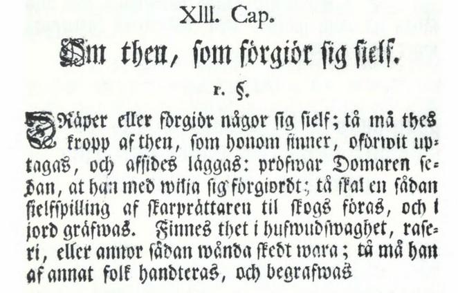 XIII Cap. 1§ Missgärningabalken.