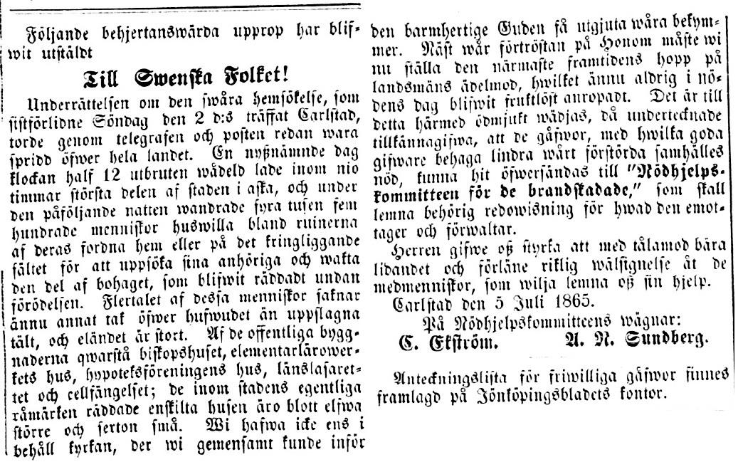 Upprop från Nödhjelpskommitteen för de brandskadade, som publicerades i svenska tidningar. Källa: Jönköpingsbladet 1865-07-11