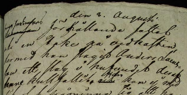 """""""...fattat uti en stake på vedkasten, der med han slagit Anders Svensson ett slag i hufvuded deraf han kullfallit."""" Källa: ArkivDigital: Västra häradsrätt AI:178 (1826-1826) Bild 10220."""