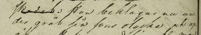 """""""Hon beklagar nu under gråt sin sons olycka..."""". Källa: ArkivDigital: Västra häradsrätt AI:178 (1826-1826) Bild 10230."""