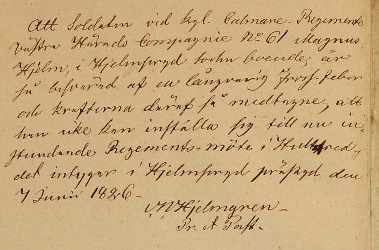 Källa: ArkivDigital: Generalmönsterrullor - Kalmar regemente 420 (1826-1826) Bild 95.
