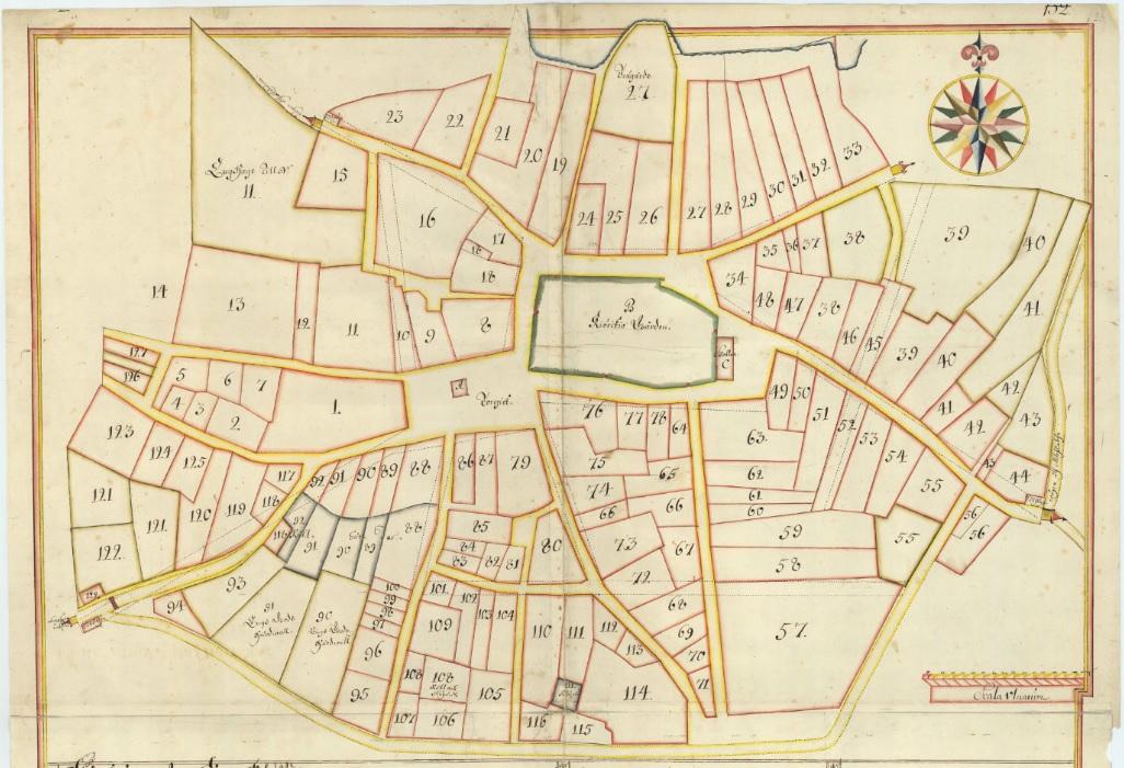 """""""Tompter i det skick staden war innan han blef afbränd 1719"""". Källa: Lantmäteriets historiska kartor."""