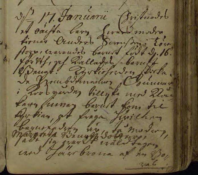Bengts födelsenotering. Källa: ArkivDigital: Jung C:2 (1688-1763) Bild 39 / sid 73.